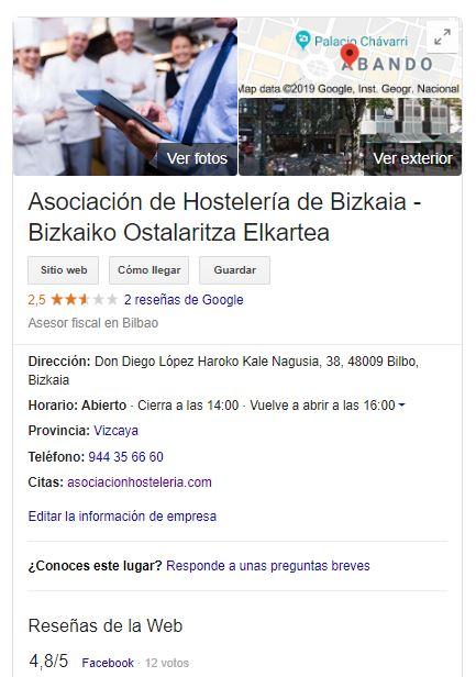 Asociación de Hostelería de Bizkaia en Google